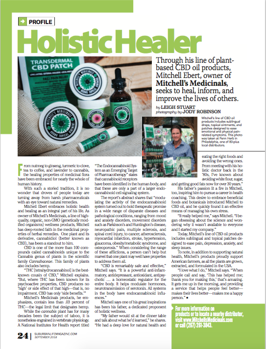 Mitchell's Medicinals hemp cbd in Suburban Life Magazine tincture salve lip balm extract compassionate care health